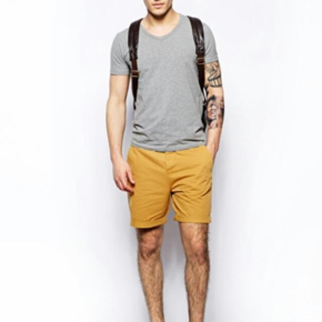 BNIP ASOS MUSTARD CHINO SHORTS IN MID LENGTH