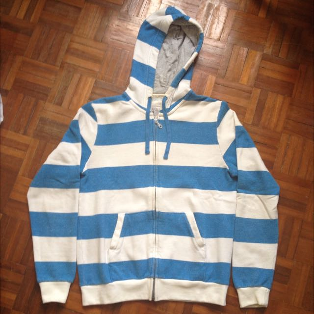 Brands Outlet Blue & White Striped Hoodie Jacket 🔵⚪️