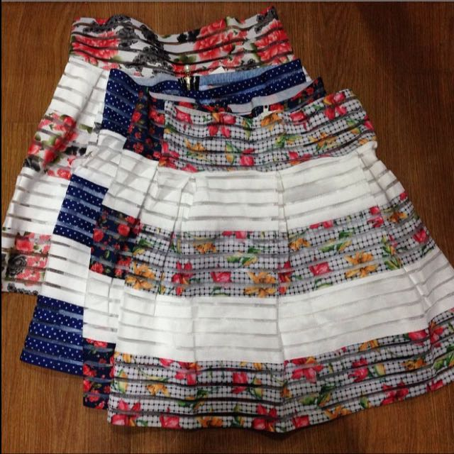 Floral stripes highwaist skirt