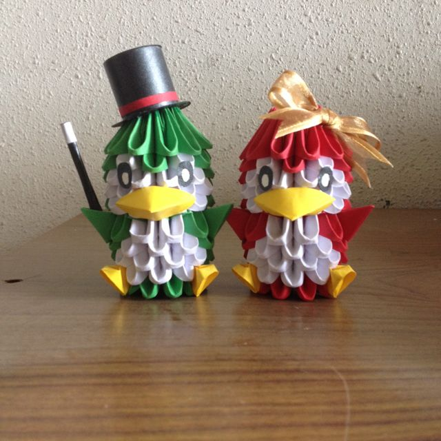 3d Origami Penguin Couple Design Craft On Carousell