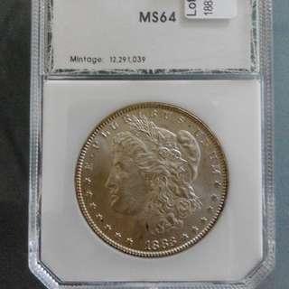 1883 Morgan Dollar PCI Graded MS64