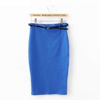 Blue Highwaist Pencil Skirt