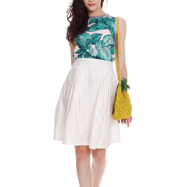 MDS Pleated Midi Skirt in white
