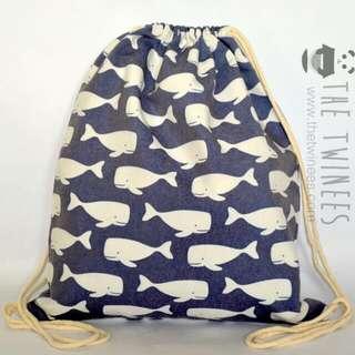 INSTOCK! Dark Blue Swimming Whales Drawstring Bag