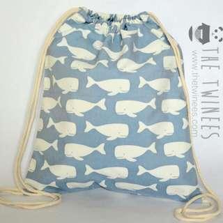 INSTOCK! Sky Blue Swimming Whales Drawstring Bag