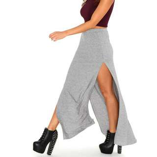 Grey Maxi Skirt With BACK slit (Diff From Photo) Worn Once Lightly Able To Fit <175cm Girls. :)