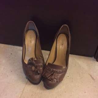 Nine West Dark Brown Leather Heels