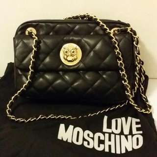 LOVE MOSCHINO Purse, GOLD And BLACK Leather. With The Cutest Owl Detail. Almost New, Worn Once.