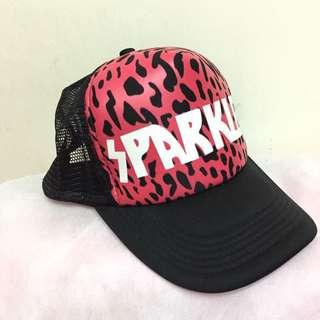桃紅豹紋帽