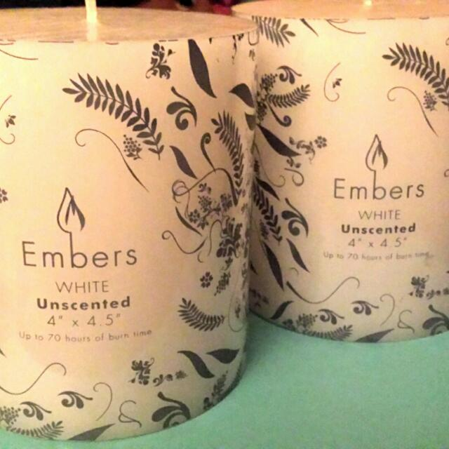 Pair of Big White Candles
