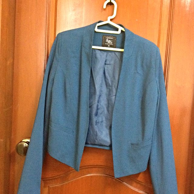 Blue CO Cropped Blazer