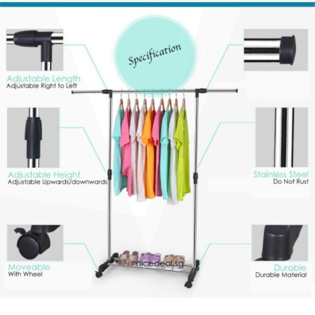 Indoor Outdoor Clothes Drying Rack Adjustable Extendable Hang