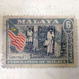 Setem Federation Of Malaya 6 Cent ( Tapping Rubber )