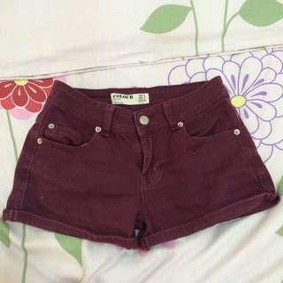 Cotton On Maroon Denim Shorts