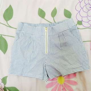 Blue Checkered Grid Shorts