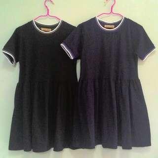 [PO] Jersey Babydoll Dress (Black /Navy)