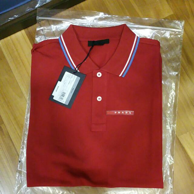 54faa51c8 Authentic BN Prada Polo XL Red, Men's Fashion on Carousell