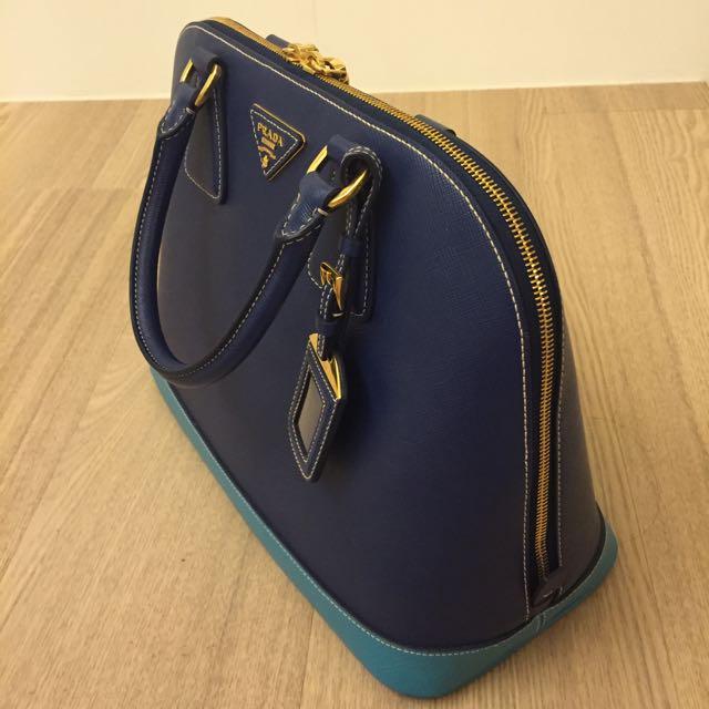 PRADA 雙色全真皮手提包