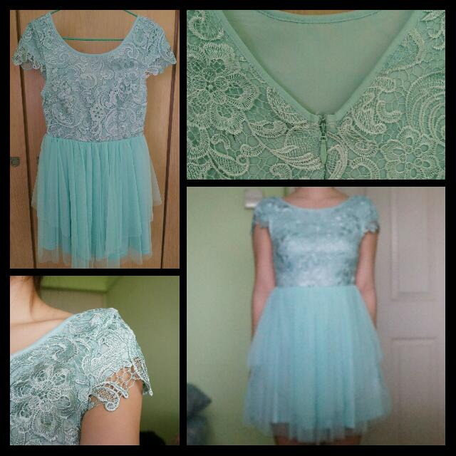 Teal Green Lace/Tulle Dress
