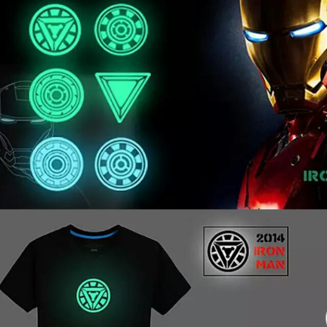753580b55 GLOW IN THE DARK Iron man arc reactor Tshirt