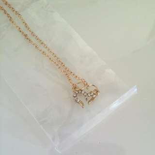 BNWT Gold And White Diamond Heart Necklace