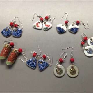Porcelain Earring With Silver Top