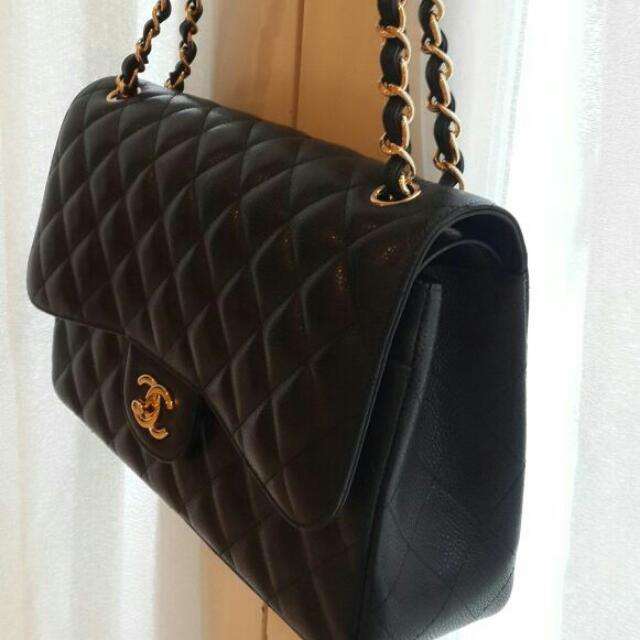 5830a3e68 Brand New Chanel Classic Jumbo Flap Bag Caviar Calf Skin With Golden Metal  Chain, Luxury on Carousell