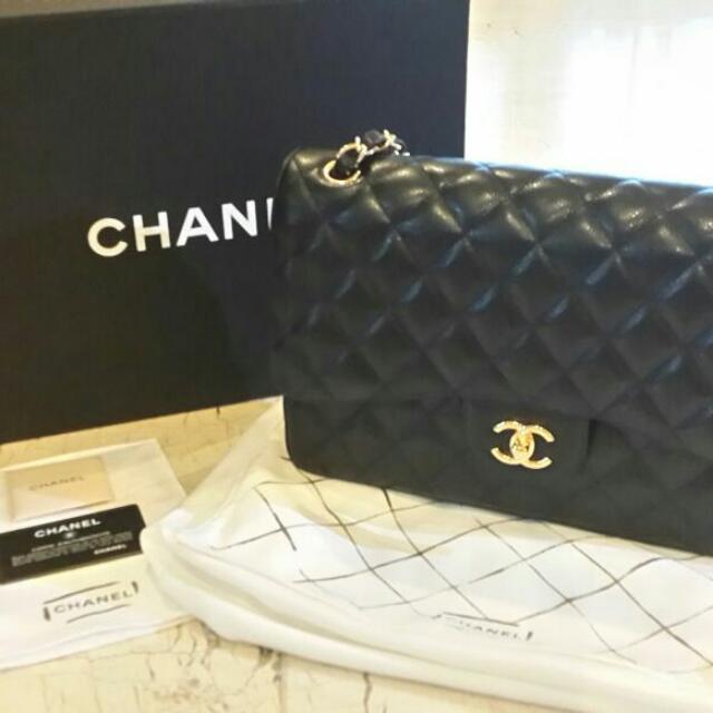 317973de9 Brand New Chanel Classic Jumbo Flap Bag Caviar Calf Skin With Golden ...