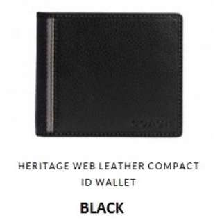 Coach Heritage Web Leather Compact Id Wallet