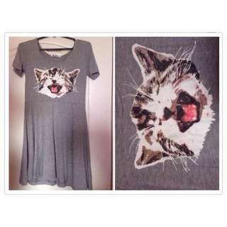 Cute Kitty Cat Skater Dress (Grey)