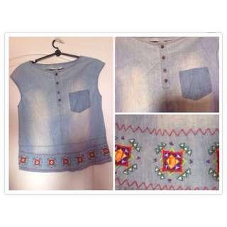 Light Wash Denim Top ( with embroidered floral details!)