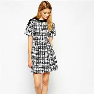 ASOS Monochrome Checked Cropped Top With Mesh Insert