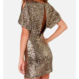 LULUS Gold Sequin Dress