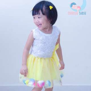 Baby Girl Summer Party Flower Dress (yellow)