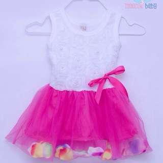 Baby Girl Summer Party Flower Dress (Hot Pink )