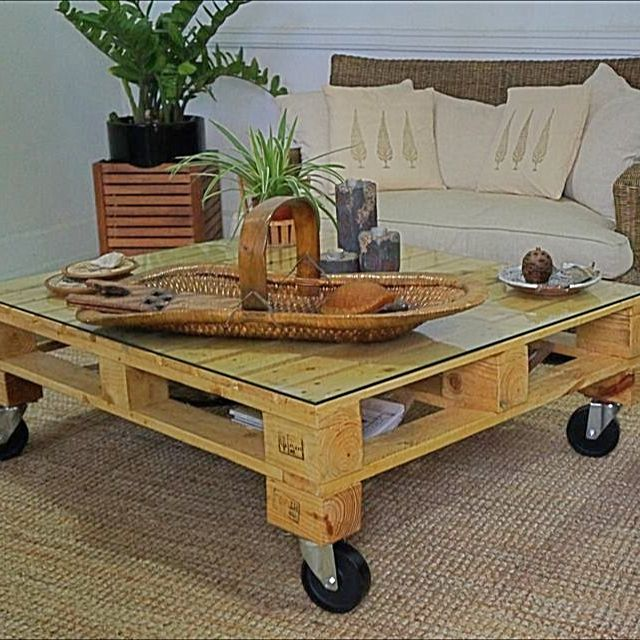 Pallet Coffee Table With Glass Top Furniture On Carousell