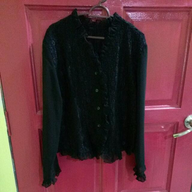 Black Lace&Ribbon Blouse