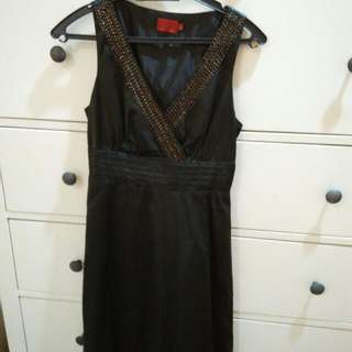 Black Satin Short Dress