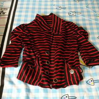 Black And Red Striped Short Coat Outwear