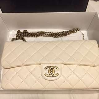 Chanel Lamb skin White Flap Bag