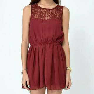 Lace Embellished Dress (Wine Red)