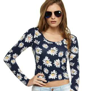 Daisy Long Sleeves Crop Top