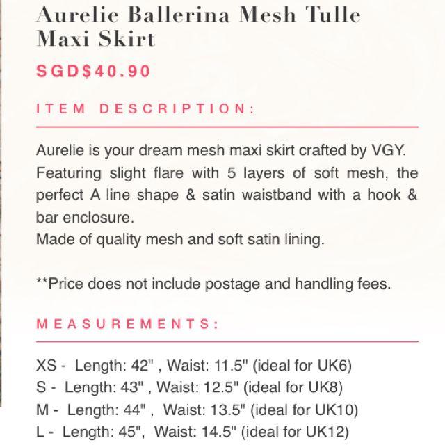 b1d1b367e Vgystore Aurelia Ballerina Mesh Tulle Maxi Skirt, Women's Fashion on  Carousell
