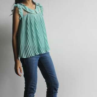 Turquoise Pleated Chiffon & Lace Top