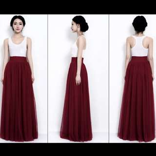 Long Maroon Skirt
