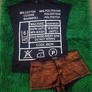 Forever21 Gold Short & Black Shirt Set