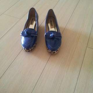 PROMO - Blue Coloured Shoes With Leopard Design At The Sides