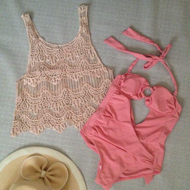 Swimsuit & Lace Top