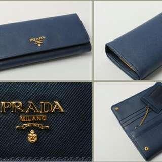 Prada Saffiano Metal Bluette Wallet
