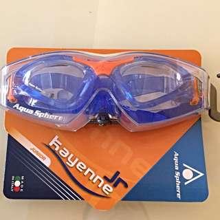 [BNIB] Aqua Sphere - Kayenne Jr Goggles. Blue/orange. Clear Lens